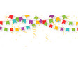 Carnival garland with flags confetti and ribbons
