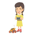 caucasian girl playing with radio-controlled car vector image vector image