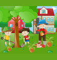 children helping out in the garden vector image