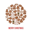 Christmas gingerbread figures on bauble shape vector image vector image