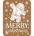 christmas greeting card santa wood vector image vector image