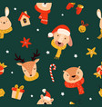christmas seamless pattern with cute animals vector image vector image