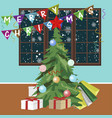christmas tree with merry christmas banners vector image