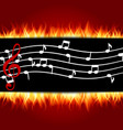 classical musical notes with treble clef fire vector image vector image