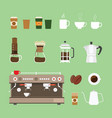 coffee machine tools equipment set collection vector image