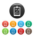 decision strategy icons set color vector image vector image