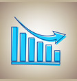 declining graph sign sky blue icon vector image vector image