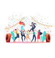 flat office workers celebrate christmas a vector image vector image