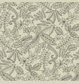 forest leaves hand drawn contour seamless pattern vector image vector image