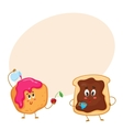 Funny toast with chocolate spread and donut vector image vector image