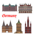 german tourist sight and travel landmark icon set vector image vector image