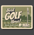 golf club green course and tee professional sport vector image vector image