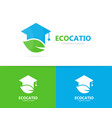 graduate hat and leaf logo combination vector image vector image