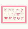 hand drawing love heart icons design element set vector image vector image