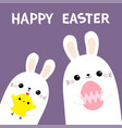 happy easter two rabbit bunny friends holding vector image vector image