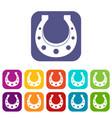 horseshoe icons set flat vector image vector image
