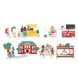 hostel cartoon character set flat isolated vector image vector image