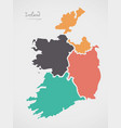 ireland map with states and modern round shapes vector image