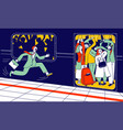 man running in subway platform to crowded train vector image