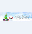 merry christmas banner santa standing at decorated vector image