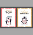 merry christmas greeting cards from cute penguins vector image vector image