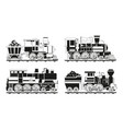 monochrome pictures of vintage trains vector image vector image