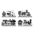 monochrome pictures vintage trains vector image