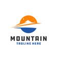 mountain object circle logo vector image vector image