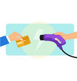 paying electric car charging using credit card vector image vector image
