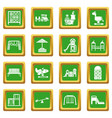 playground equipment icons set green square vector image vector image