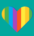 pride month rainbow heart green background vector image