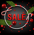 red round christmas sale sign on grey vector image