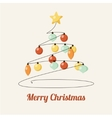 Retro greeting card with decorated christmas tree vector image