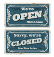 retro open and closed store or pub signs vector image vector image