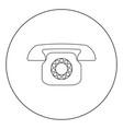 retro telephone icon black color in circle vector image