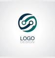 round circle technology logo vector image