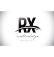 rx r x letter logo design with swoosh and black vector image