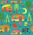 seamless pattern with camping trailer vector image