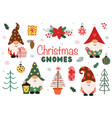 set isolated cute christmas gnomes vector image
