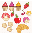set of donutscakescroissant vector image vector image