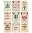 set of labels for wine in retro style vector image vector image