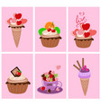 set of sweet valentine day desserts vector image