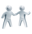 silver people shaking hands vector image vector image