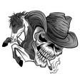 skull cowboy ride a horse vector image vector image