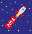 space rocket with red banner 2018 vector image vector image