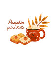 tasty pumpkin spice latte in cute red cup with vector image vector image