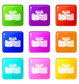 tasty turkish delight icons 9 set vector image vector image