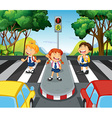 Three students at the zebra crossing vector image vector image