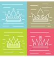 White line crown icons on color background vector image