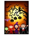 Halloween tree with children dressed up vector image